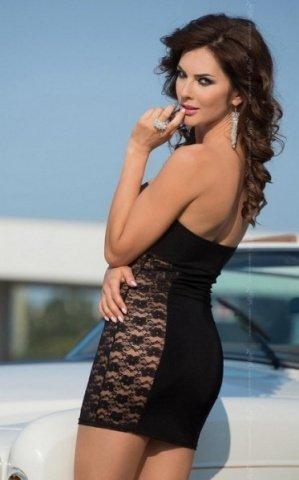 M чер Платье без бретель со стразами на бюсте и кружевными боками, фото 2