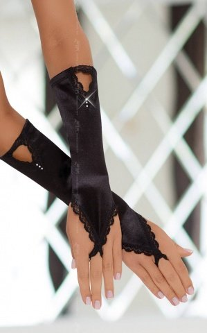 Перчатки атласные черные, фото 2
