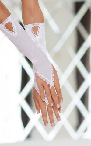 Перчатки атласные белые, фото 2