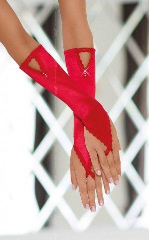 Перчатки атласные красные, фото 2
