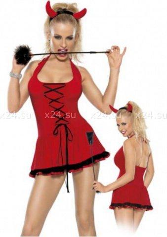 Костюм дьяволицы из 2-ух предметов красно-черный