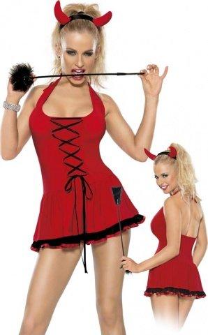 Костюм дьяволицы из 2-ух предметов красно-черный, фото 2
