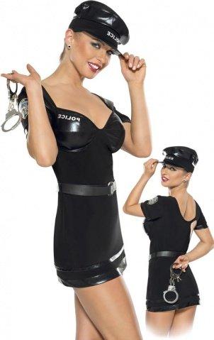Костюм полицейского из 2-ух предметов черный-L