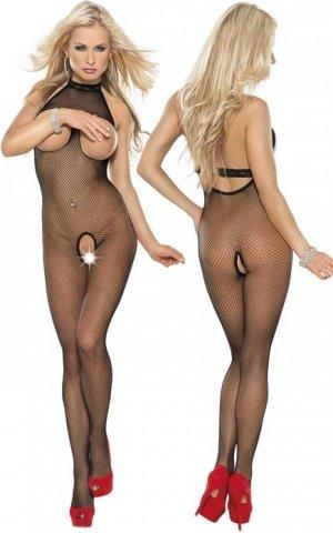 Костюм-сетка с открытой грудью черный