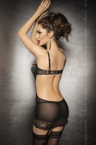 Комбинация с открытой спиной и стринги, черные, фото 2