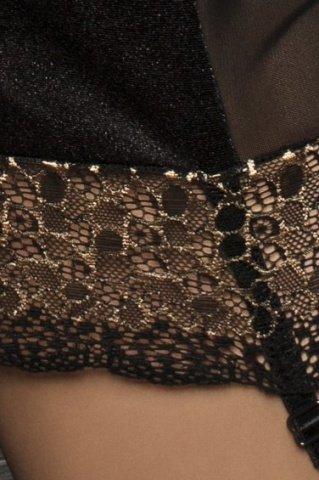 Комбинация с открытой спиной и стринги, черные, фото 3