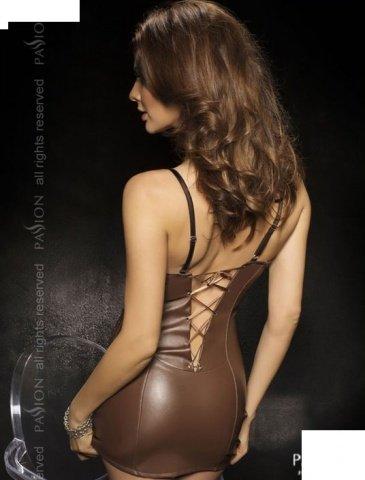 Комбинация со шнуровкой сзади + стринги, коричневый, твоя вторая кожа