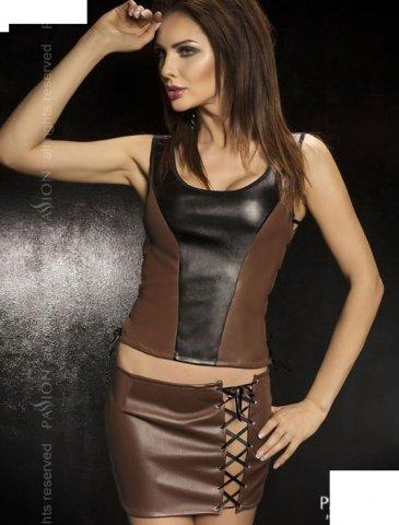 Комплект: нижняя юбка + топ + стринги, коричневый, твоя вторая кожа, фото 2