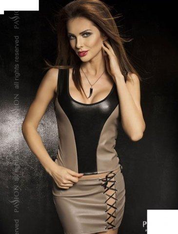 Комплект: нижняя юбка + топ + стринги, серый, твоя вторая кожа