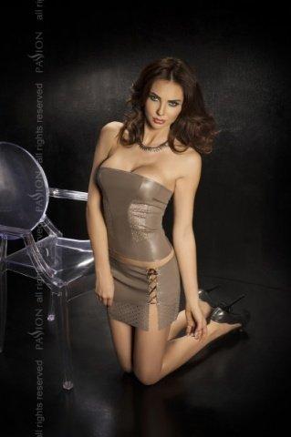 Комплект: нижняя юбка + топ + стринги, серый, твоя вторая кожа, фото 2