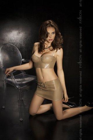 Комплект: нижняя юбка + топ + стринги, бежевый, твоя вторая кожа