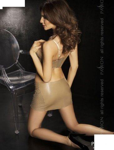 Комплект: нижняя юбка + топ + стринги, бежевый, твоя вторая кожа, фото 2