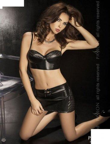 Комплект: нижняя юбка + топ + стринги, черный, твоя вторая кожа