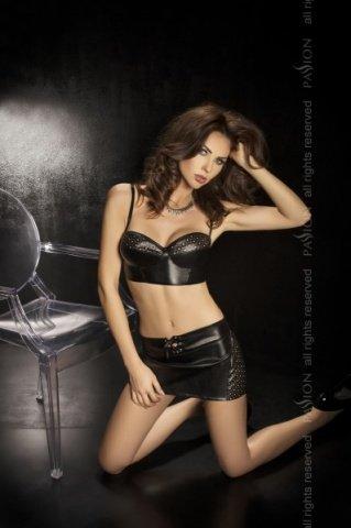 Комплект: нижняя юбка + топ + стринги, черный, твоя вторая кожа, фото 2