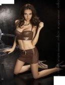 Комплект: нижняя юбка + топ + стринги, коричневый, твоя вторая кожа.