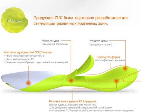 Вибратор хай-тек zini zook зеленый с белым, фото 2