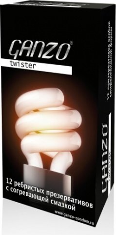 Презервативы Ganzo Twister 12 Ребристые, анатомические, с согревающей смазкой 12/6, фото 3