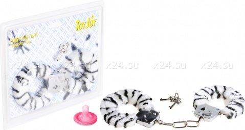 Наручники бело-черные Furry Fun Cuffs, фото 2