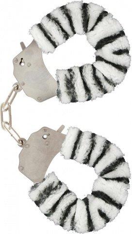 Наручники бело-черные Furry Fun Cuffs, фото 3