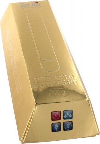 Вибратор 20 см золотой водонепр, фото 2