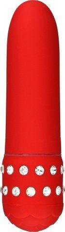 Мини-вибратор со стразами Diamond Red Petit, фото 3