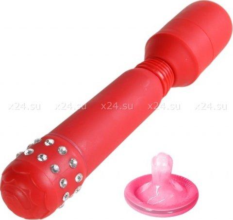 Вибромассажер со стразами Cristal Red Flex Massager