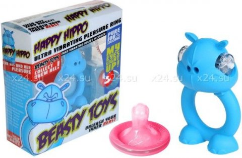 Вибронасадка Beasty Toys Happy Hippo голубая, фото 3