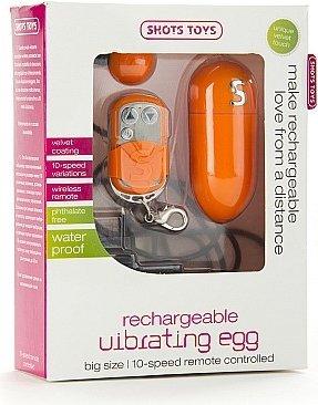 Виброяйцо Rechargeable Vibrating egg оранжевое с пультом ДУ, фото 2