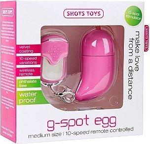 Виброяйцо Vibrating G-spot Egg medium розовое с пультом ДУ, фото 4