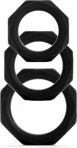 Набор эрекционных колец Octagon Rings 3 sizes черный (3 шт.)