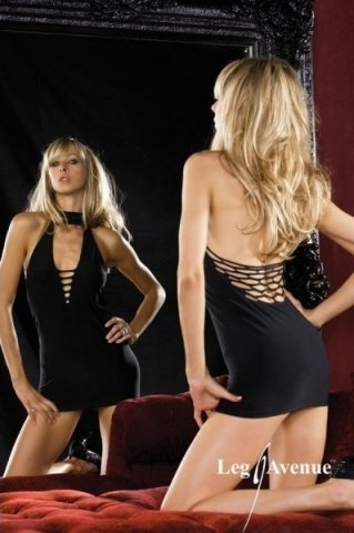 -Миниплатье-комбинация черное, фото 2