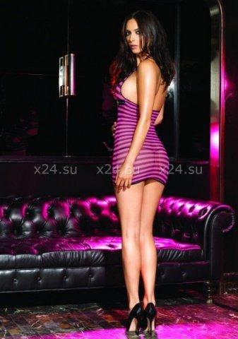 Мини-платье в сеточку с кожаным ремешком под грудью, фото 2