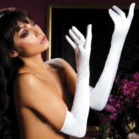 Атласные длинные белые перчатки
