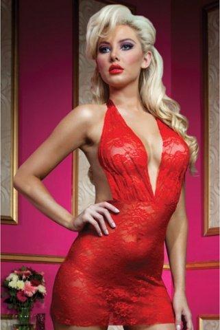 Красное роскошное мини-платье из кружева с трусиками, фото 2