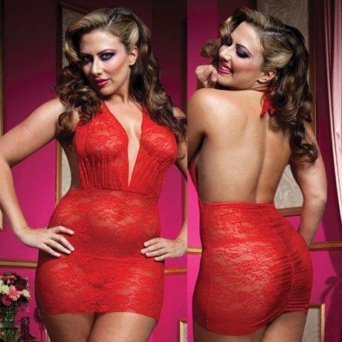 Красное роскошное мини-платье из кружева с трусиками