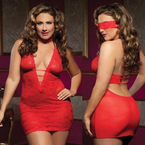 Ажурное платье красное с глубоким декольте