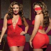 Ажурное платье красное с глубоким декольте.