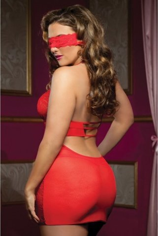 Ажурное платье красное с глубоким декольте, фото 2
