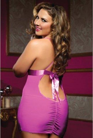 Розовое платьице на тонких бретелях с трусиками, фото 3