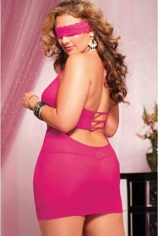 Ажурное розовое платье с глубоким декольте, фото 3