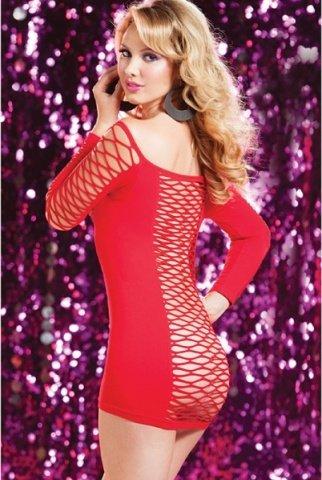 Откровенное красное платье в крупную сетку, фото 3