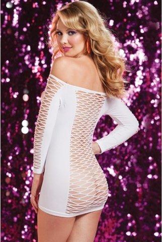 Откровенное белое платье в крупную сетку, фото 3