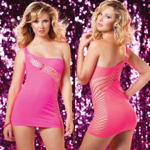 Ассиметричное розовое платье с интригующим рисунком