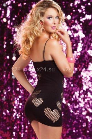 Черное бесшовное платье сердцеедки, фото 2