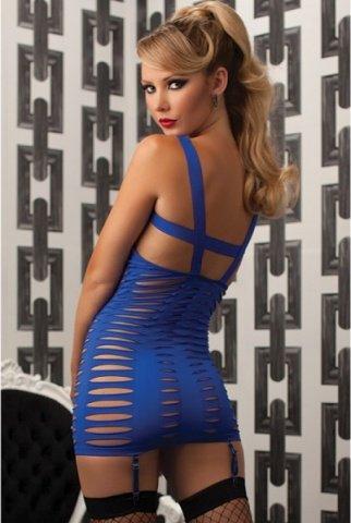 Синее платье с вырезами в стиле бондаж, фото 3