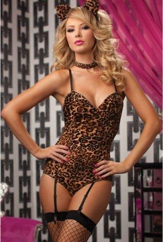 Леопардовое боди с хвостиком и ушками, фото 2