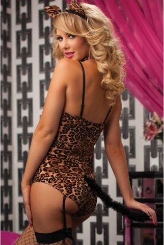 Леопардовое боди с хвостиком и ушками, фото 3