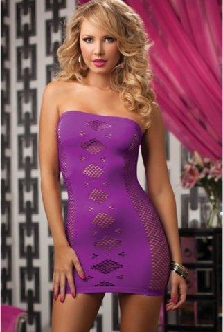Фиолетовое платье-футляр в сетку, фото 2