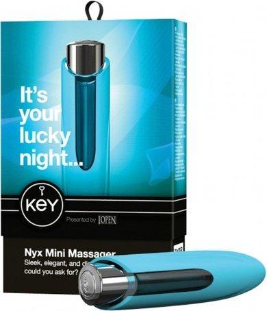Массажер из пластика с силиконовой насадкой NYX от KEY лазурный, фото 3