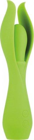 Салатовый оригинальный вибромассажер из силикона lust 19 см, фото 3